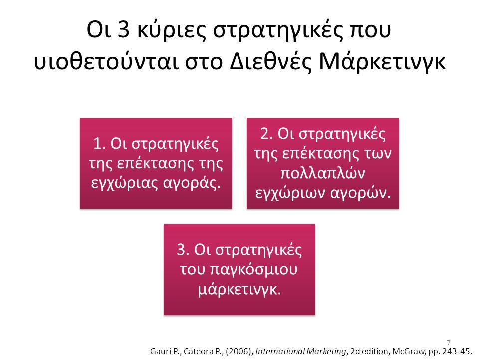 Σύμφωνα με το υπόδειγμα οι επιχειρήσεις ταξινομούνται ως οργανισμοί που έχουν τα παρακάτω ήδη διεθνούς προσανατολισμού: Πολυκεντρικό (Policentric) Γεωκεντρικό (Geocentric) Περιφερειο- κεντρικό (Regiocentric) Εθνοκεντρικό (ethnocentric) Πηγή: Wind et al., 1973 Το υπόδειγμα EPRG 8