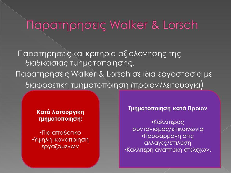 Παρατηρησεις και κριτηρια αξιολογησης της διαδικασιας τμηματοποιησης. Παρατηρησεις Walker & Lorsch σε ιδια εργοστασια με διαφορετικη τμηματοποιηση (πρ