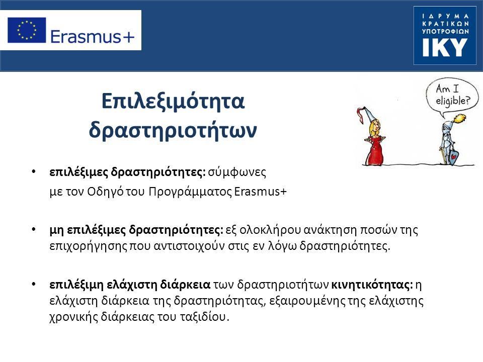 Επιλεξιμότητα δραστηριοτήτων επιλέξιμες δραστηριότητες: σύμφωνες με τον Οδηγό του Προγράμματος Erasmus+ μη επιλέξιμες δραστηριότητες: εξ ολοκλήρου ανάκτηση ποσών της επιχορήγησης που αντιστοιχούν στις εν λόγω δραστηριότητες.