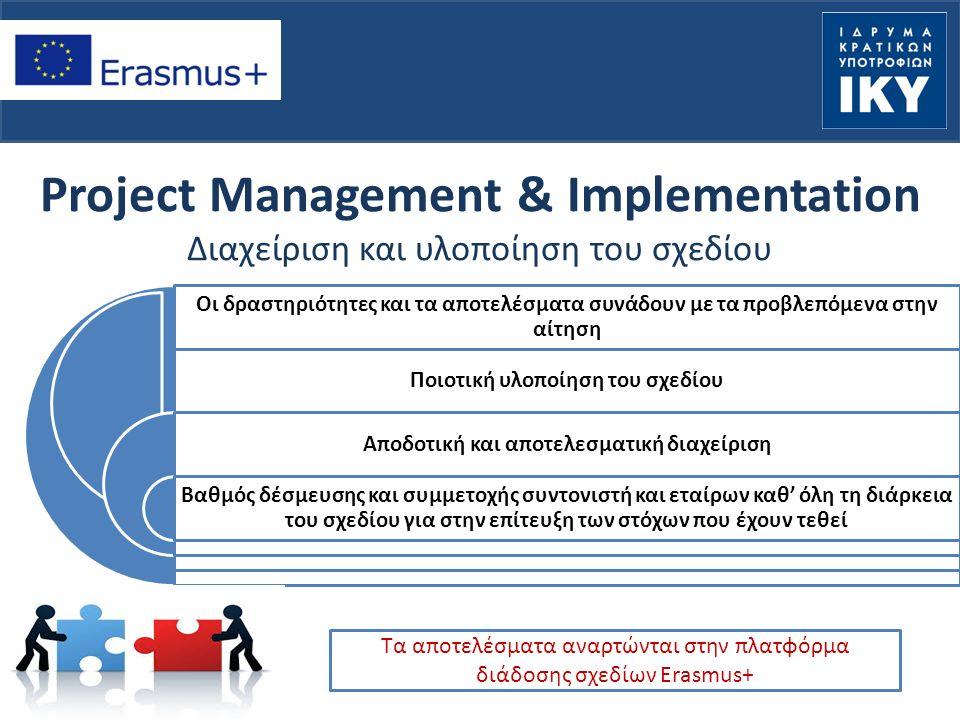 Project Management & Implementation Διαχείριση και υλοποίηση του σχεδίου Οι δραστηριότητες και τα αποτελέσματα συνάδουν με τα προβλεπόμενα στην αίτηση Ποιοτική υλοποίηση του σχεδίου Αποδοτική και αποτελεσματική διαχείριση Βαθμός δέσμευσης και συμμετοχής συντονιστή και εταίρων καθ' όλη τη διάρκεια του σχεδίου για στην επίτευξη των στόχων που έχουν τεθεί Τα αποτελέσματα αναρτώνται στην πλατφόρμα διάδοσης σχεδίων Erasmus+