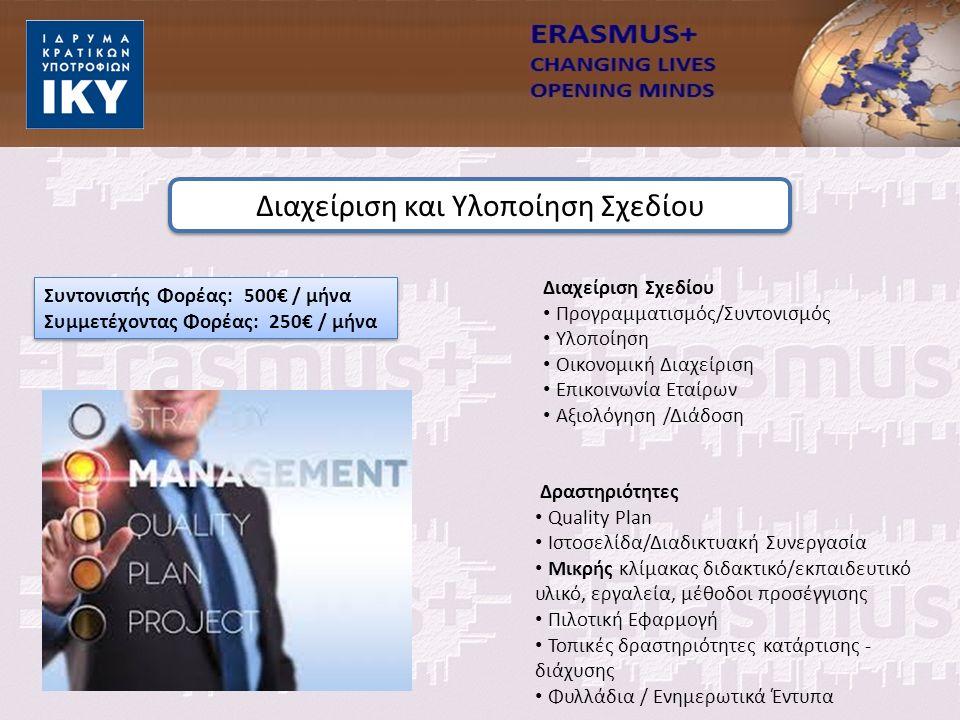 Συντονιστής Φορέας: 500€ / μήνα Συμμετέχοντας Φορέας: 250€ / μήνα Διαχείριση Σχεδίου Προγραμματισμός/Συντονισμός Υλοποίηση Οικονομική Διαχείριση Επικοινωνία Εταίρων Αξιολόγηση /Διάδοση Δραστηριότητες Quality Plan Ιστοσελίδα/Διαδικτυακή Συνεργασία Μικρής κλίμακας διδακτικό/εκπαιδευτικό υλικό, εργαλεία, μέθοδοι προσέγγισης Πιλοτική Εφαρμογή Τοπικές δραστηριότητες κατάρτισης - διάχυσης Φυλλάδια / Ενημερωτικά Έντυπα Διαχείριση και Υλοποίηση Σχεδίου
