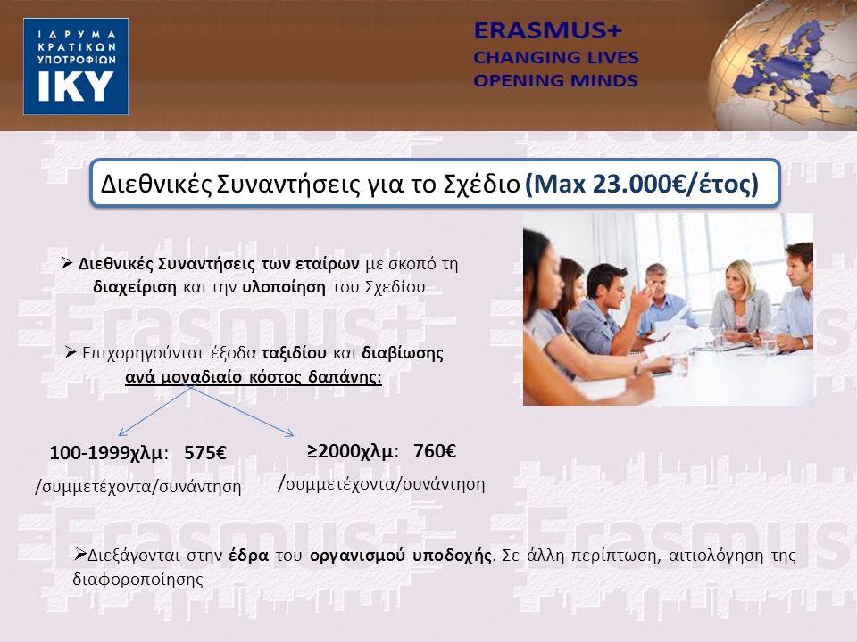  Διεθνικές Συναντήσεις των εταίρων με σκοπό τη διαχείριση και την υλοποίηση του Σχεδίου  Επιχορηγούνται έξοδα ταξιδίου και διαβίωσης ανά μοναδιαίο κόστος δαπάνης: 100-1999χλμ: 575€ /συμμετέχοντα/συνάντηση ≥2000χλμ: 760€ / συμμετέχοντα/συνάντηση  Διεξάγονται στην έδρα του οργανισμού υποδοχής.