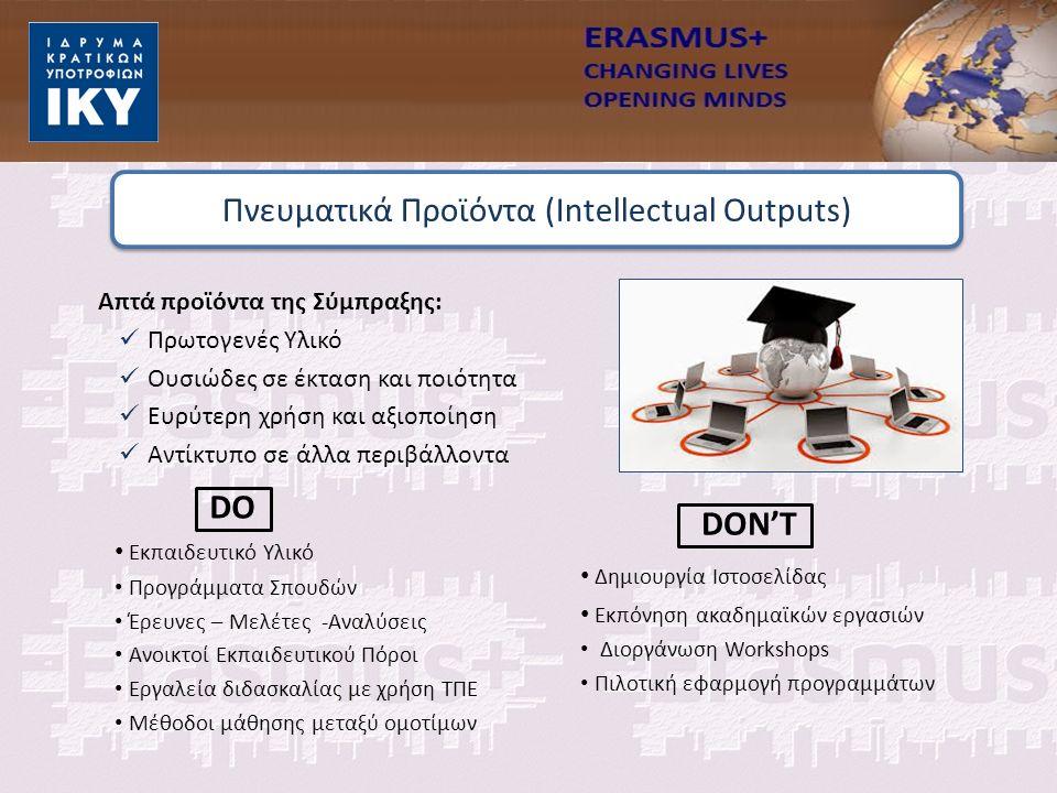 Εκπαιδευτικό Υλικό Προγράμματα Σπουδών Έρευνες – Μελέτες -Αναλύσεις Ανοικτοί Εκπαιδευτικού Πόροι Εργαλεία διδασκαλίας με χρήση ΤΠΕ Μέθοδοι μάθησης μεταξύ ομοτίμων Απτά προϊόντα της Σύμπραξης: Πρωτογενές Υλικό Ουσιώδες σε έκταση και ποιότητα Ευρύτερη χρήση και αξιοποίηση Αντίκτυπο σε άλλα περιβάλλοντα Πνευματικά Προϊόντα (Intellectual Outputs) Δημιουργία Ιστοσελίδας Εκπόνηση ακαδημαϊκών εργασιών Διοργάνωση Workshops Πιλοτική εφαρμογή προγραμμάτων DON'T DO