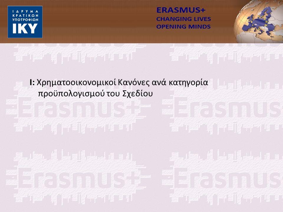 Ι: Χρηματοοικονομικοί Κανόνες ανά κατηγορία προϋπολογισμού του Σχεδίου