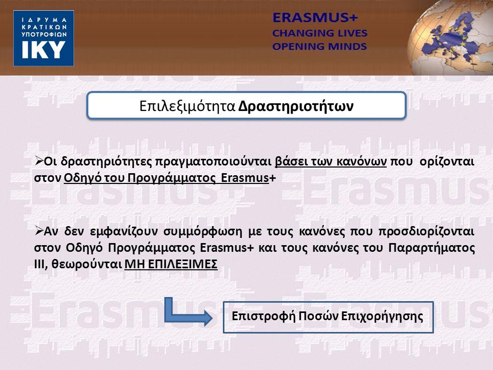 Επιλεξιμότητα Δραστηριοτήτων  Οι δραστηριότητες πραγματοποιούνται βάσει των κανόνων που ορίζονται στον Οδηγό του Προγράμματος Erasmus+  Αν δεν εμφανίζουν συμμόρφωση με τους κανόνες που προσδιορίζονται στον Οδηγό Προγράμματος Erasmus+ και τους κανόνες του Παραρτήματος III, θεωρούνται ΜΗ ΕΠΙΛΕΞΙΜΕΣ Επιστροφή Ποσών Επιχορήγησης