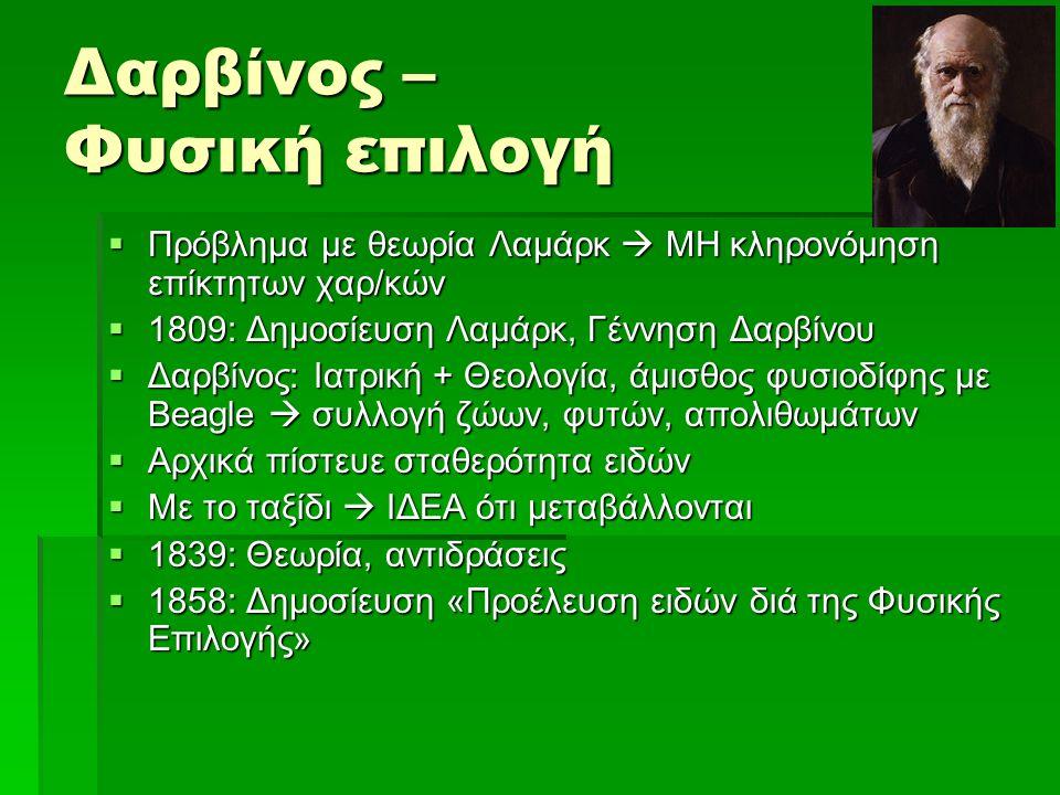 Δαρβίνος – Φυσική επιλογή  Πρόβλημα με θεωρία Λαμάρκ  ΜΗ κληρονόμηση επίκτητων χαρ/κών  1809: Δημοσίευση Λαμάρκ, Γέννηση Δαρβίνου  Δαρβίνος: Ιατρι