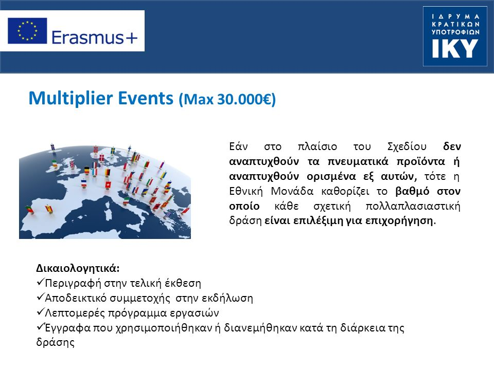 Multiplier Events (Max 30.000€) Εάν στο πλαίσιο του Σχεδίου δεν αναπτυχθούν τα πνευματικά προϊόντα ή αναπτυχθούν ορισμένα εξ αυτών, τότε η Εθνική Μονάδα καθορίζει το βαθμό στον οποίο κάθε σχετική πολλαπλασιαστική δράση είναι επιλέξιμη για επιχορήγηση.
