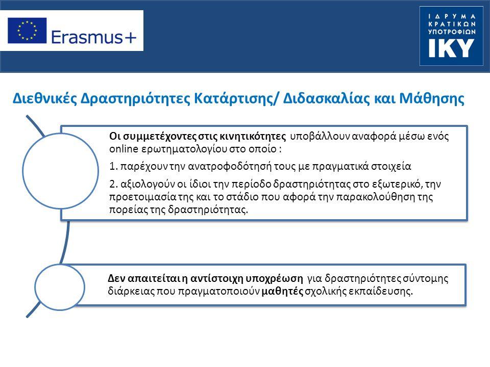 Διεθνικές Δραστηριότητες Κατάρτισης/ Διδασκαλίας και Μάθησης Οι συμμετέχοντες στις κινητικότητες υποβάλλουν αναφορά μέσω ενός online ερωτηματολογίου στο οποίο : 1.