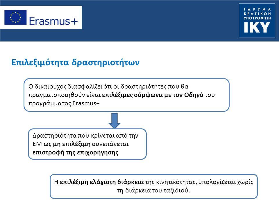 Επιλεξιμότητα δραστηριοτήτων Ο δικαιούχος διασφαλίζει ότι οι δραστηριότητες που θα πραγματοποιηθούν είναι επιλέξιμες σύμφωνα με τον Οδηγό του προγράμματος Erasmus+ Η Δραστηριότητα που κρίνεται από την ΕΜ ως μη επιλέξιμη συνεπάγεται επιστροφή της επιχορήγησης Η επιλέξιμη ελάχιστη διάρκεια της κινητικότητας, υπολογίζεται χωρίς τη διάρκεια του ταξιδιού.