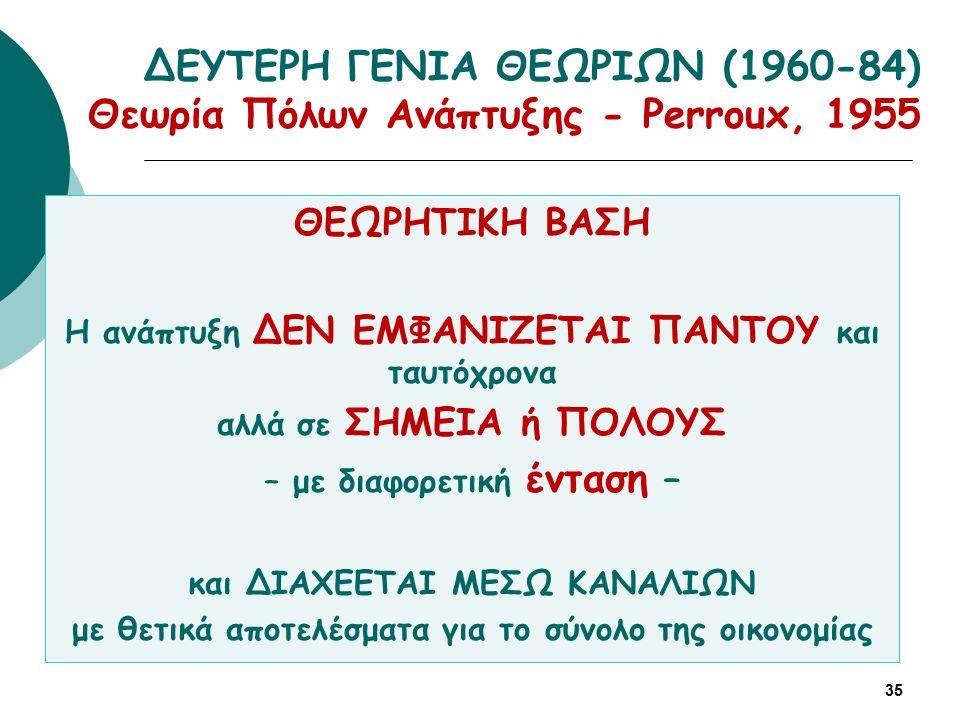 ΔΕΥΤΕΡΗ ΓΕΝΙΑ ΘΕΩΡΙΩΝ (1960-84) Θεωρία Πόλων Ανάπτυξης - Perroux, 1955 35 ΘΕΩΡΗΤΙΚΗ ΒΑΣΗ Η ανάπτυξη ΔΕΝ ΕΜΦΑΝΙΖΕΤΑΙ ΠΑΝΤΟΥ και ταυτόχρονα αλλά σε ΣΗΜΕΙΑ ή ΠΟΛΟΥΣ – με διαφορετική ένταση – και ΔΙΑΧΕΕΤΑΙ ΜΕΣΩ ΚΑΝΑΛΙΩΝ με θετικά αποτελέσματα για το σύνολο της οικονομίας