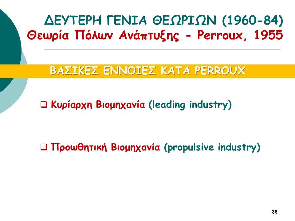 ΒΑΣΙΚΕΣ ΕΝΝΟΙΕΣ ΚΑΤΑ PERROUX  Κυρίαρχη Βιομηχανία (leading industry)  Προωθητική Βιομηχανία (propulsive industry) 36 ΔΕΥΤΕΡΗ ΓΕΝΙΑ ΘΕΩΡΙΩΝ (1960-84) Θεωρία Πόλων Ανάπτυξης - Perroux, 1955
