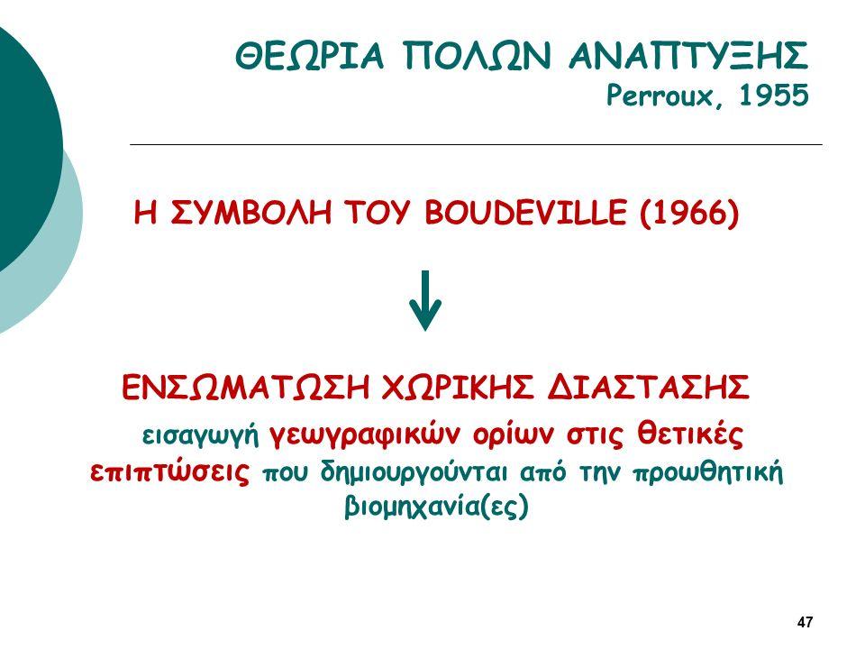 Η ΣΥΜΒΟΛΗ ΤΟΥ BOUDEVILLE (1966) ΕΝΣΩΜΑΤΩΣΗ ΧΩΡΙΚΗΣ ΔΙΑΣΤΑΣΗΣ εισαγωγή γεωγραφικών ορίων στις θετικές επιπτώσεις που δημιουργούνται από την προωθητική βιομηχανία(ες) 47 ΘΕΩΡΙΑ ΠΟΛΩΝ ΑΝΑΠΤΥΞΗΣ Perroux, 1955