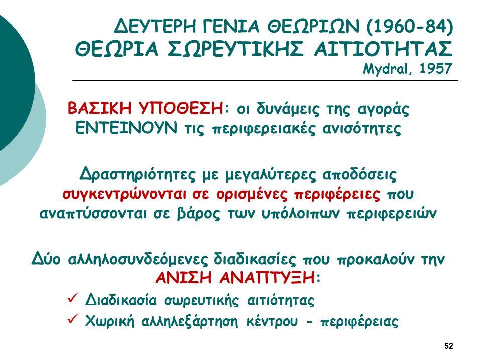 ΔΕΥΤΕΡΗ ΓΕΝΙΑ ΘΕΩΡΙΩΝ (1960-84) ΘΕΩΡΙΑ ΣΩΡΕΥΤΙΚΗΣ ΑΙΤΙΟΤΗΤΑΣ Mydral, 1957 52 ΒΑΣΙΚΗ ΥΠΟΘΕΣΗ: οι δυνάμεις της αγοράς ΕΝΤΕΙΝΟΥΝ τις περιφερειακές ανισότητες Δραστηριότητες με μεγαλύτερες αποδόσεις συγκεντρώνονται σε ορισμένες περιφέρειες που αναπτύσσονται σε βάρος των υπόλοιπων περιφερειών Δύο αλληλοσυνδεόμενες διαδικασίες που προκαλούν την ΑΝΙΣΗ ΑΝΑΠΤΥΞΗ: Διαδικασία σωρευτικής αιτιότητας Χωρική αλληλεξάρτηση κέντρου - περιφέρειας