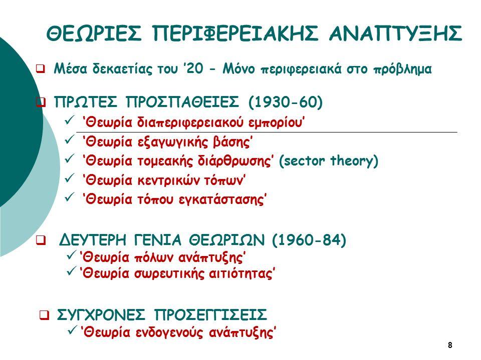 ΘΕΩΡΙΕΣ ΠΕΡΙΦΕΡΕΙΑΚΗΣ ΑΝΑΠΤΥΞΗΣ  Μέσα δεκαετίας του '20 - Μόνο περιφερειακά στο πρόβλημα  ΠΡΩΤΕΣ ΠΡΟΣΠΑΘΕΙΕΣ (1930-60) 'Θεωρία διαπεριφερειακού εμπορίου' 'Θεωρία εξαγωγικής βάσης' 'Θεωρία τομεακής διάρθρωσης' (sector theory) 'Θεωρία κεντρικών τόπων' 'Θεωρία τόπου εγκατάστασης' 8  ΔΕΥΤΕΡΗ ΓΕΝΙΑ ΘΕΩΡΙΩΝ (1960-84) 'Θεωρία πόλων ανάπτυξης' 'Θεωρία σωρευτικής αιτιότητας'  ΣΥΓΧΡΟΝΕΣ ΠΡΟΣΕΓΓΙΣΕΙΣ 'Θεωρία ενδογενούς ανάπτυξης'