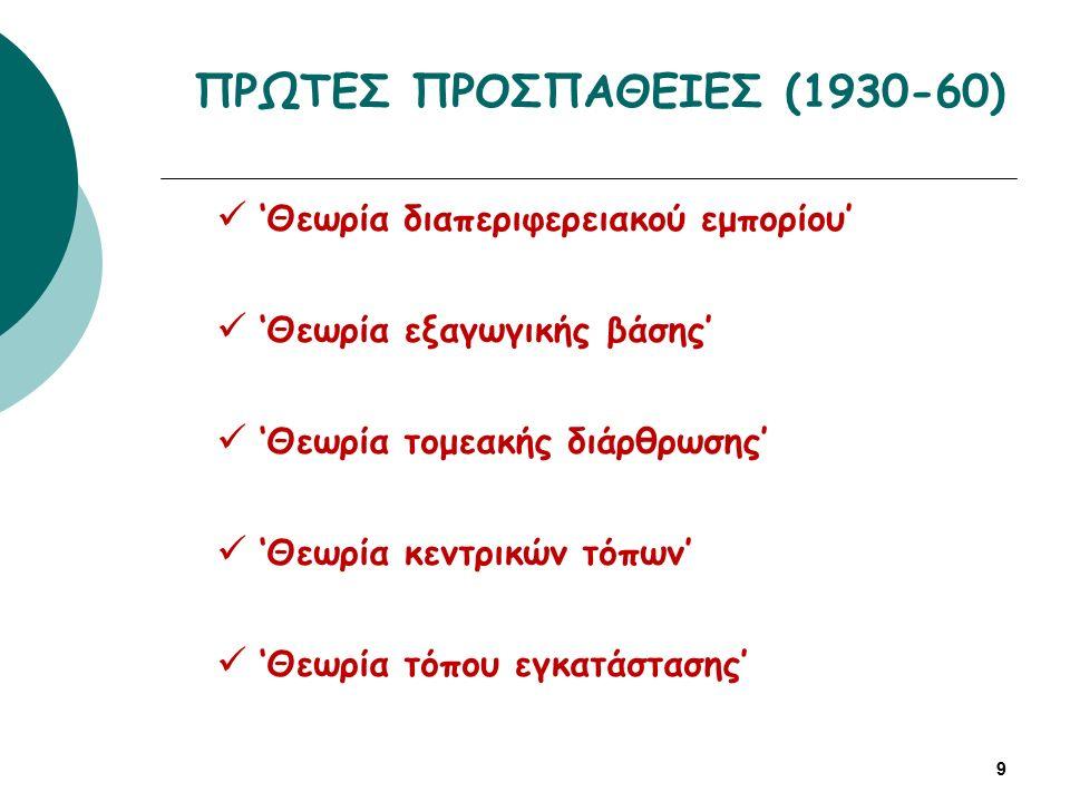ΠΡΩΤΕΣ ΠΡΟΣΠΑΘΕΙΕΣ (1930-60) 9 'Θεωρία διαπεριφερειακού εμπορίου' 'Θεωρία εξαγωγικής βάσης' 'Θεωρία τομεακής διάρθρωσης' 'Θεωρία κεντρικών τόπων' 'Θεωρία τόπου εγκατάστασης'