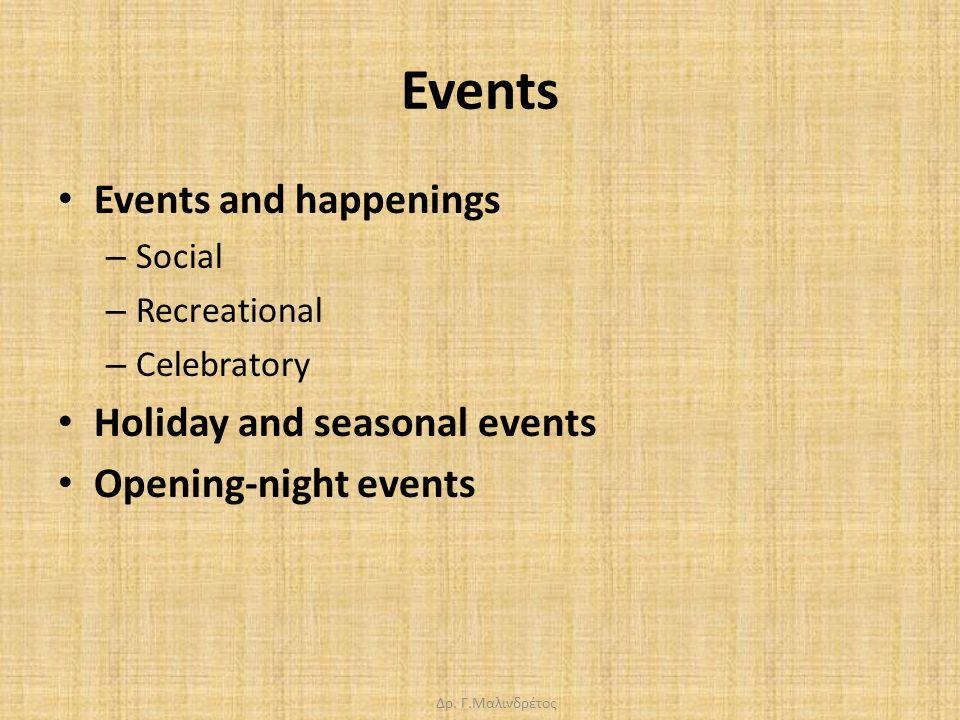 Δρ. Γ.Μαλινδρέτος Events Events and happenings – Social – Recreational – Celebratory Holiday and seasonal events Opening-night events