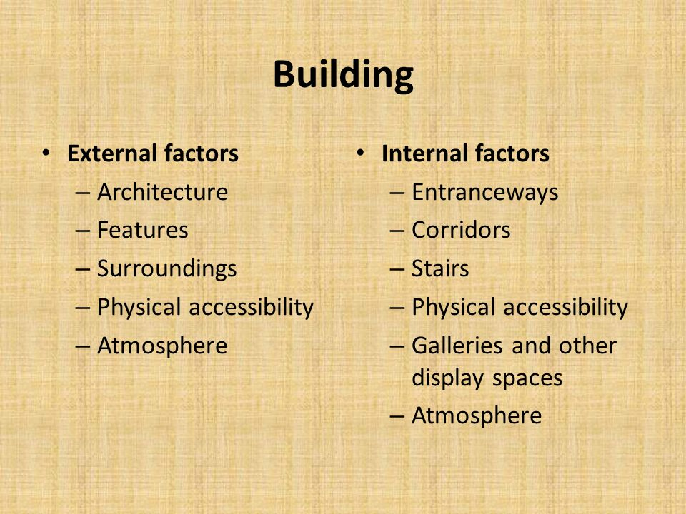 Building External factors – Architecture – Features – Surroundings – Physical accessibility – Atmosphere Internal factors – Entranceways – Corridors –