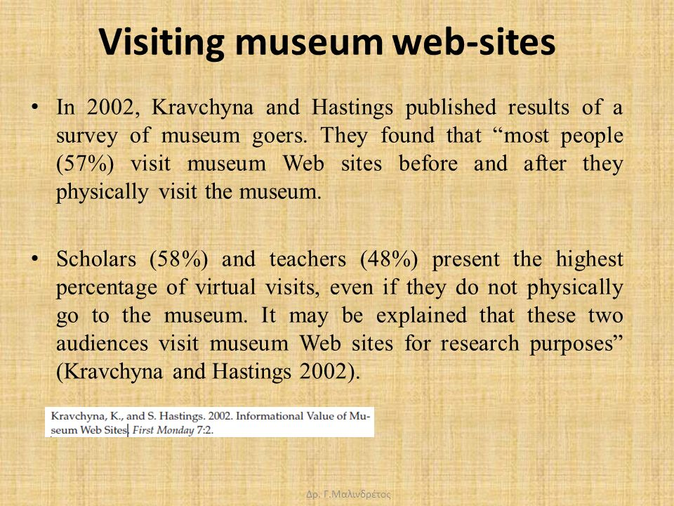 "Visiting museum web-sites In 2002, Kravchyna and Hastings published results of a survey of museum goers. They found that ""most people (57%) visit muse"