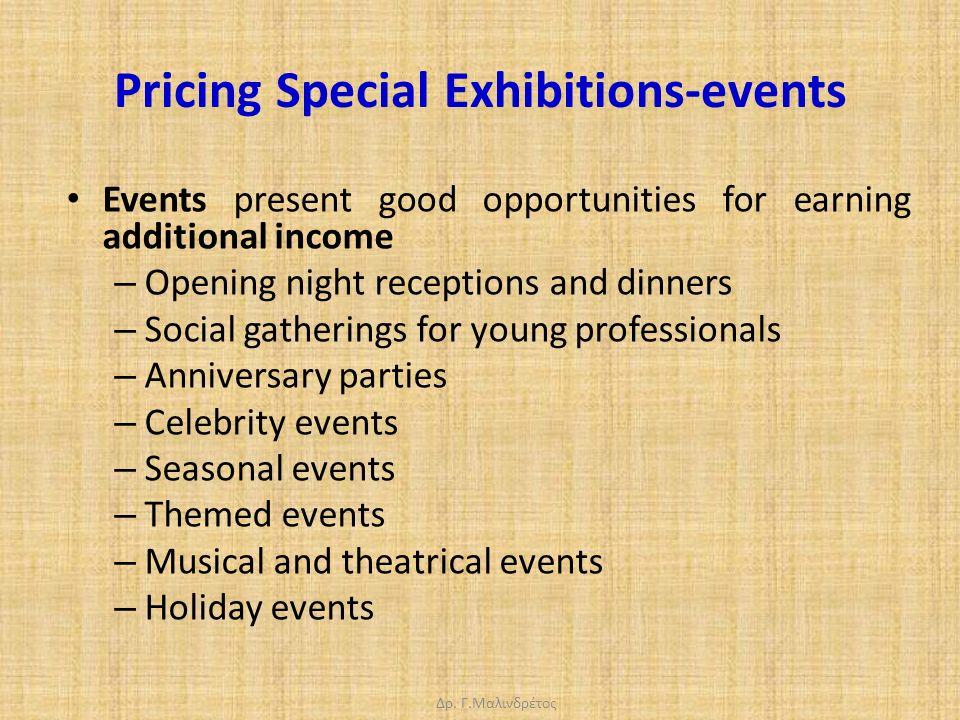 Δρ. Γ.Μαλινδρέτος Pricing Special Exhibitions-events Events present good opportunities for earning additional income – Opening night receptions and di