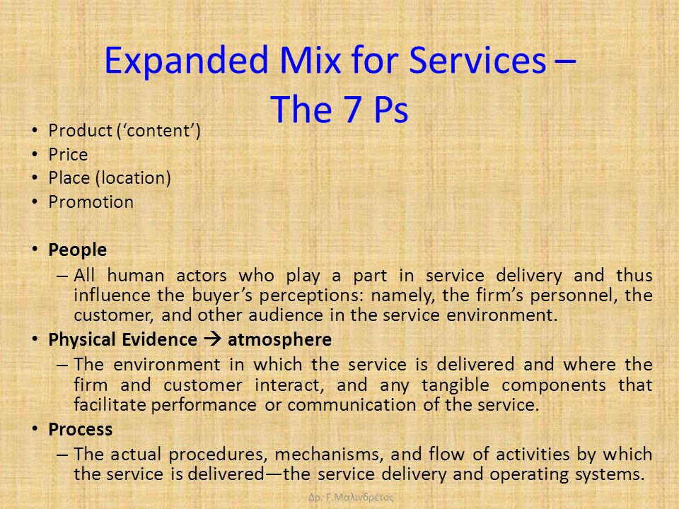 Δρ. Γ.Μαλινδρέτος Expanded Mix for Services – The 7 Ps Product ('content') Price Place (location) Promotion People – All human actors who play a part