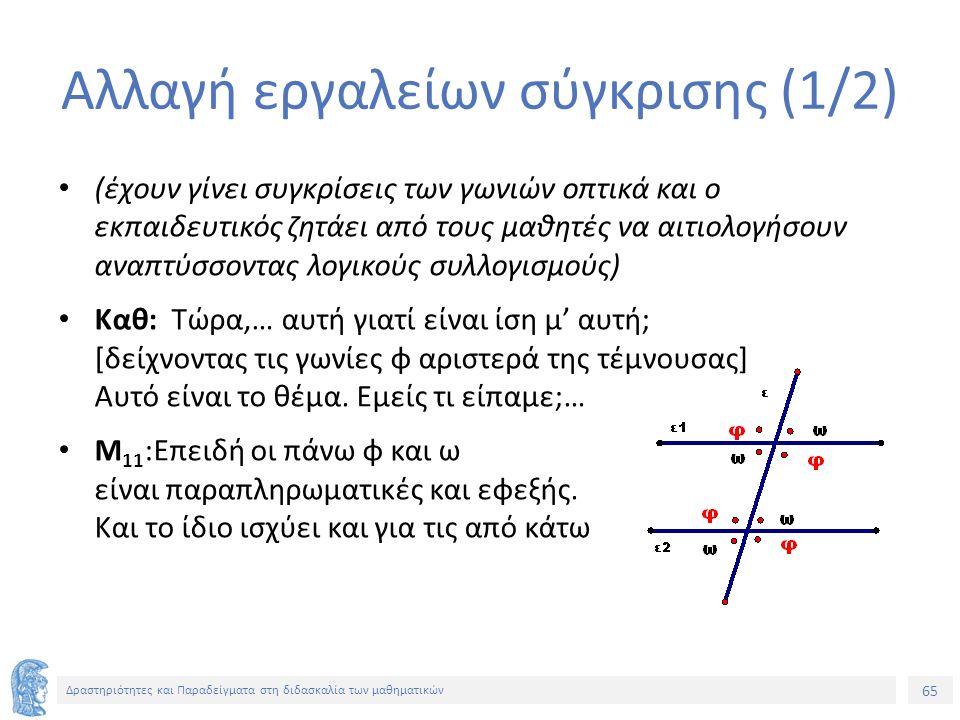 65 Δραστηριότητες και Παραδείγματα στη διδασκαλία των μαθηματικών Αλλαγή εργαλείων σύγκρισης (1/2) (έχουν γίνει συγκρίσεις των γωνιών οπτικά και ο εκπαιδευτικός ζητάει από τους μαθητές να αιτιολογήσουν αναπτύσσοντας λογικούς συλλογισμούς) Καθ: Τώρα,… αυτή γιατί είναι ίση μ' αυτή; [δείχνοντας τις γωνίες φ αριστερά της τέμνουσας] Αυτό είναι το θέμα.