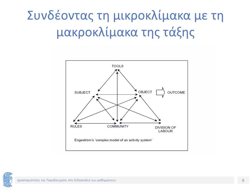 9 Δραστηριότητες και Παραδείγματα στη διδασκαλία των μαθηματικών Ανάλυση με το τρίγωνο από την πλευρά του καθηγητή Υποκείμενο: Καθηγητής Αντικείμενο: Να κατανοήσουν βασικούς στατιστικούς όρους και σχετικές έννοιες και πραγματοποιείται μέσα από Δράσεις (έργα) Εργαλεία: Δουλειά στο σπίτι, λεξικό, πρόβλημα Κοινότητα: τάξη, σχολείο, εκπαιδευτική κοινότητα, ευρύτερη κοινότητα Κανόνες: Αναλυτικό πρόγραμμα, εξετάσεις, δουλειά στο σπίτι, τάξεις διαφορετικών ικανοτήτων, δομές εξουσίας Μοίρασμα εργασίας: Ο καθηγητής έχει την εξουσία να θέτει δουλειά στου σπίτι.