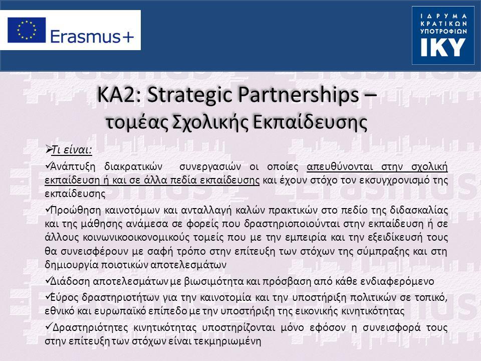 KA2: Strategic Partnerships – τομέας Σχολικής Εκπαίδευσης  Εξυπηρετούν: Στόχους και στρατηγικές της Ευρώπης για τη δημιουργία μίας ανταγωνιστικής οικονομίας επενδύοντας στην εκπαίδευση, την έρευνα και την καινοτομία για την ενίσχυση των δεξιοτήτων και τη δημιουργία περισσότερων θέσεων εργασίας  Χαρακτηριστικά: Ισότητα και ένταξη σε μαθησιακές δραστηριότητες Πολυγλωσσία Διευρυμένη χρήση τεχνολογίας πληροφορικής και επικοινωνιών (ICT) Δημιουργία ανοικτών εκπαιδευτικών πόρων (Open Educational Resources) Διάδοση και βιωσιμότητα αποτελεσμάτων Εξοικείωση με την έννοια της «επιχειρηματικότητας» και του «ενεργού πολίτη»