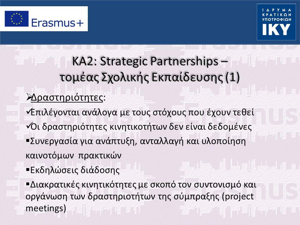 KA2: Strategic Partnerships – τομέας Σχολικής Εκπαίδευσης (2)  Διακρατικές κινητικότητες με σκοπό διδακτικές και μαθησιακές δραστηριότητες (Training, teaching or learning activities) Joint project work of groups of pupils (5days – 2 months) Συνάντηση και συνεργασία μαθητών των σχολείων-εταίρων πάνω στο θέμα και τους σκοπούς της σύμπραξης Εμπλοκή των μαθητών στην οργάνωση των συναντήσεων Long term study mobility of pupils (2 to 12 months) Περίοδος μαθητείας σε σχολείο εταίρο με συμφωνία μάθησης Ενίσχυση συνεργασίας μεταξύ των εταίρων Σύνδεση με αντικείμενο και σκοπούς σύμπραξης Μαθητές τουλάχιστον 14 ετών Joint staff training events (5days – 2 months) Δραστηριότητες μικρής διάρκειας επιμόρφωσης των εκπαιδευτικών των σχολείων-εταίρων σε σχέση με το θέμα της σύμπραξης (επισκέψεις σε φορείς, εργαστήρια διαλόγου, παρουσιάσεις κλπ) Teaching and training assignment (2-12 months) Τοποθέτηση και διδασκαλία σε φορέα - εταίρο Γνωριμία με εκπαιδευτικά συστήματα Ενίσχυση επαγγελματικών προσόντων των εκπαιδευτικών