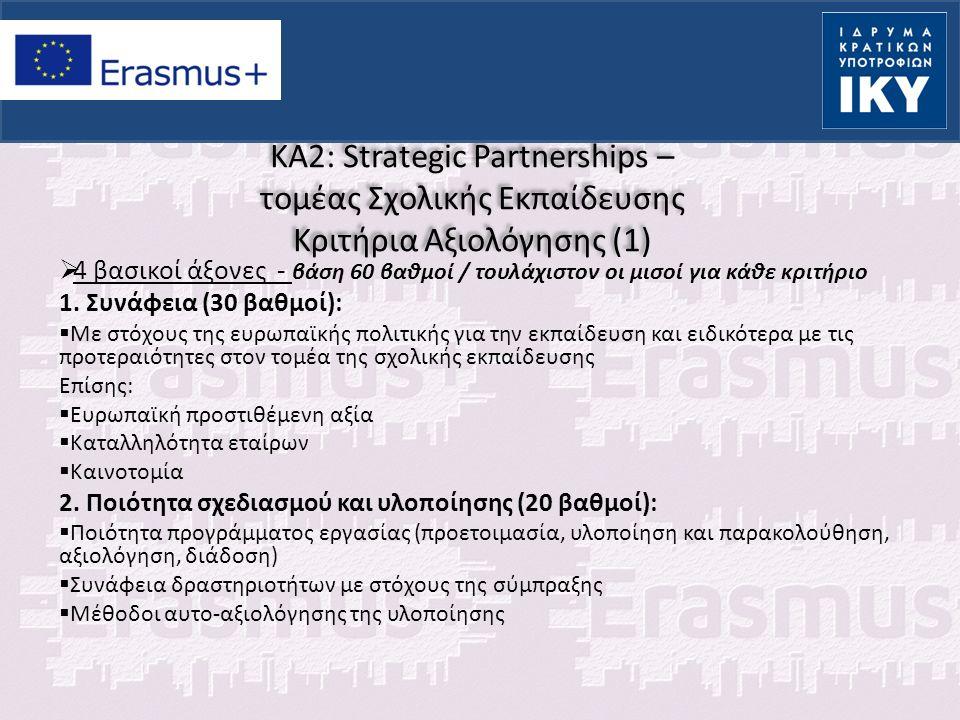 KA2: Strategic Partnerships – τομέας Σχολικής Εκπαίδευσης Κριτήρια Αξιολόγησης (1)  4 βασικοί άξονες - βάση 60 βαθμοί / τουλάχιστον οι μισοί για κάθε