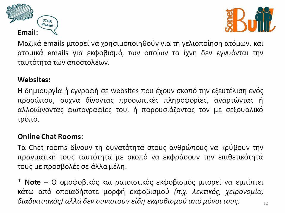 12 Email: Μαζικά emails μπορεί να χρησιμοποιηθούν για τη γελιοποίηση ατόμων, και ατομικά emails για εκφοβισμό, των οποίων τα ίχνη δεν εγγυόνται την ταυτότητα των αποστολέων.