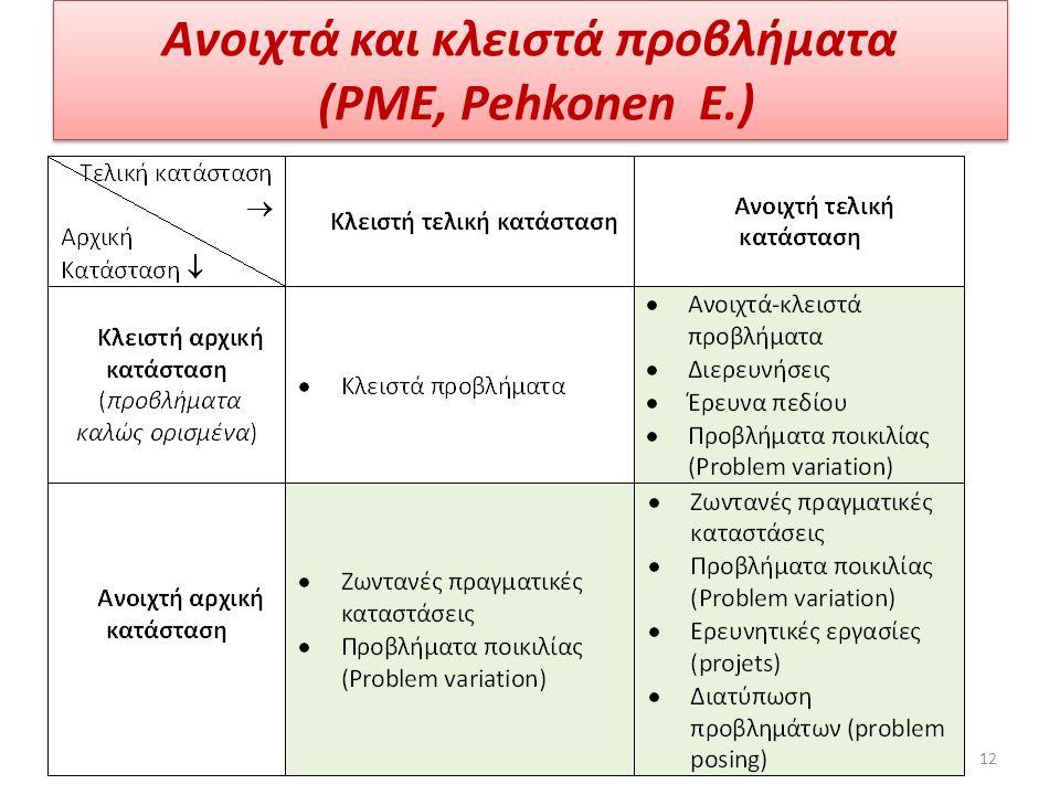 Ανοιχτά και κλειστά προβλήματα (PME, Pehkonen E.) 12