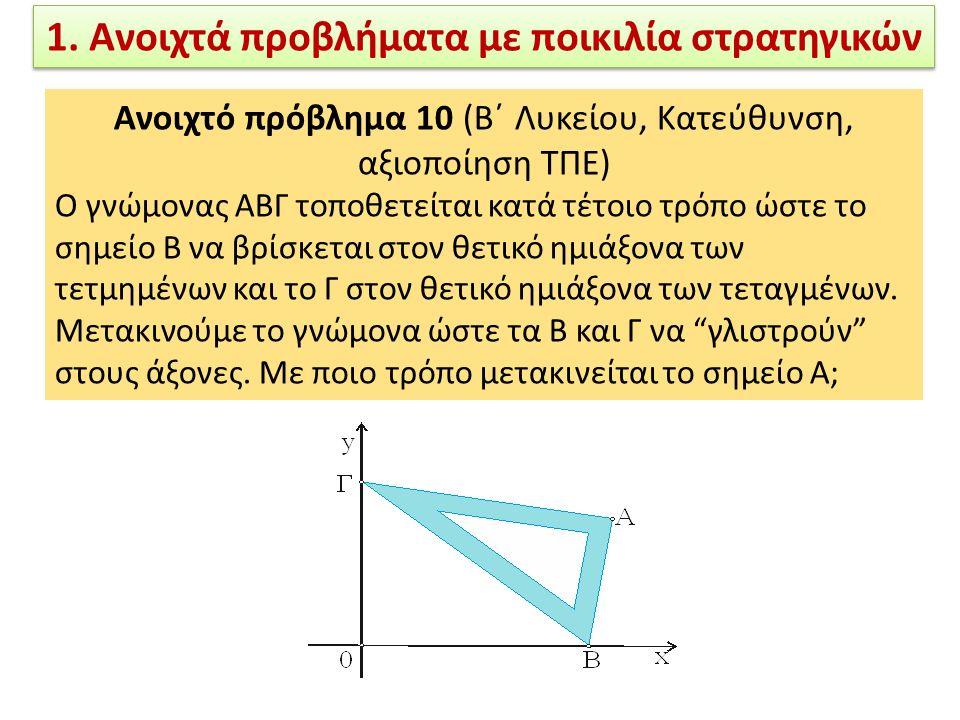 Ανοιχτό πρόβλημα 10 (Β΄ Λυκείου, Κατεύθυνση, αξιοποίηση ΤΠΕ) Ο γνώμονας ΑΒΓ τοποθετείται κατά τέτοιο τρόπο ώστε το σημείο Β να βρίσκεται στον θετικό ημιάξονα των τετμημένων και το Γ στον θετικό ημιάξονα των τεταγμένων.