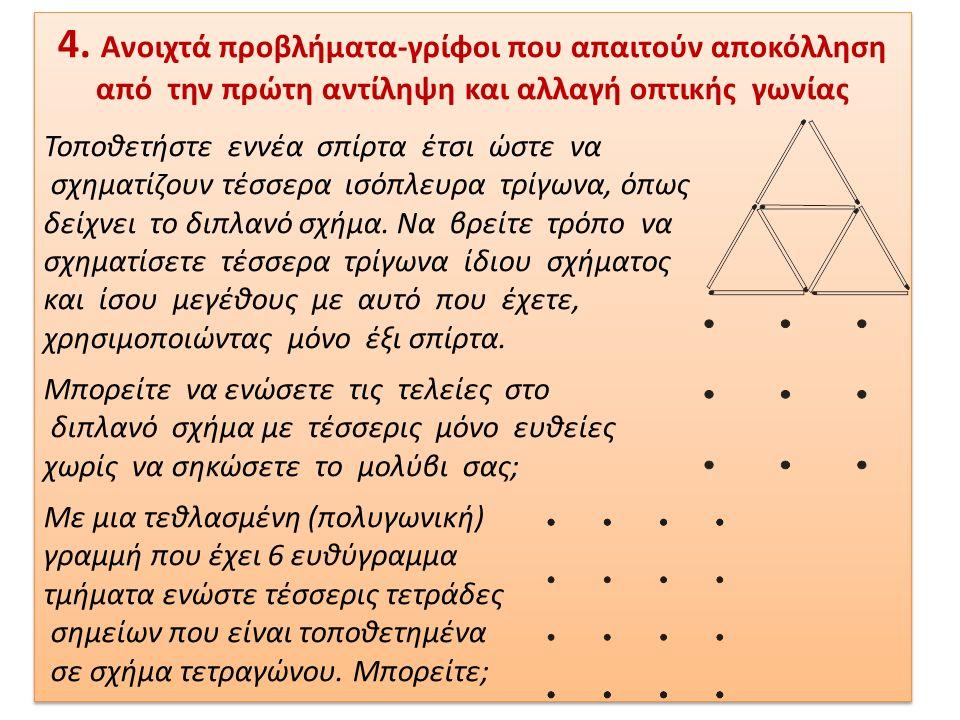 4. Ανοιχτά προβλήματα-γρίφοι που απαιτούν αποκόλληση από την πρώτη αντίληψη και αλλαγή οπτικής γωνίας Τοποθετήστε εννέα σπίρτα έτσι ώστε να σχηματίζου