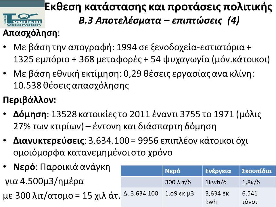 Εκθεση κατάστασης και προτάσεις πολιτικής Β.3 Αποτελέσματα – επιπτώσεις (4) Απασχόληση: Με βάση την απογραφή: 1994 σε ξενοδοχεία-εστιατόρια + 1325 εμπ