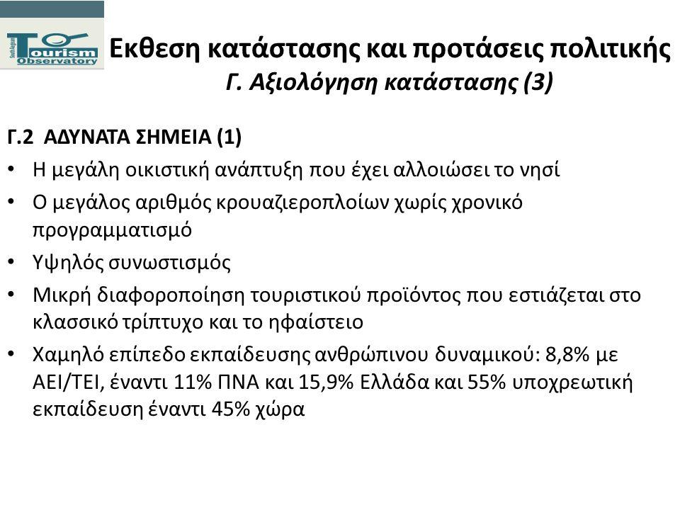 Εκθεση κατάστασης και προτάσεις πολιτικής Γ. Αξιολόγηση κατάστασης (3) Γ.2 ΑΔΥΝΑΤΑ ΣΗΜΕΙΑ (1) Η μεγάλη οικιστική ανάπτυξη που έχει αλλοιώσει το νησί Ο