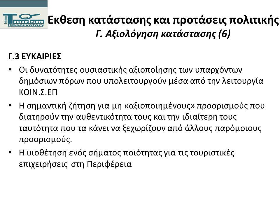 Εκθεση κατάστασης και προτάσεις πολιτικής Γ. Αξιολόγηση κατάστασης (6) Γ.3 ΕΥΚΑΙΡΙΕΣ Οι δυνατότητες ουσιαστικής αξιοποίησης των υπαρχόντων δημόσιων πό