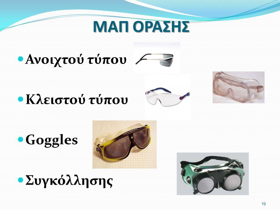ΜΑΠ ΟΡΑΣΗΣ Ανοιχτού τύπου Κλειστού τύπου Goggles Συγκόλλησης 19