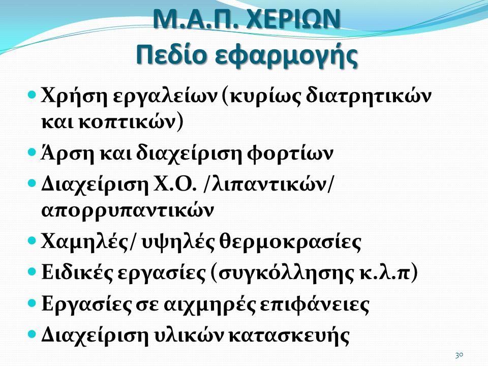 Μ.Α.Π. ΧΕΡΙΩΝ Πεδίο εφαρμογής Χρήση εργαλείων (κυρίως διατρητικών και κοπτικών) Άρση και διαχείριση φορτίων Διαχείριση Χ.Ο. /λιπαντικών/ απορρυπαντικώ