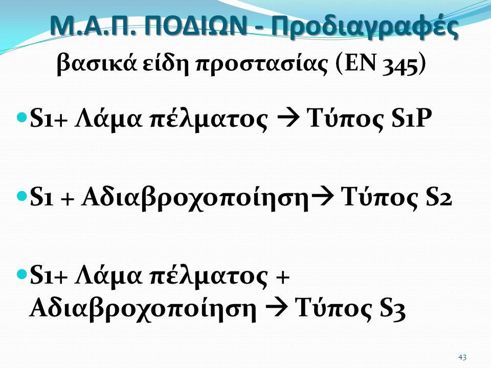 Μ.Α.Π. ΠΟΔΙΩΝ - Προδιαγραφές βασικά είδη προστασίας (ΕΝ 345) S1+ Λάμα πέλματος  Τύπος S1P S1 + Αδιαβροχοποίηση  Τύπος S2 S1+ Λάμα πέλματος + Αδιαβρο
