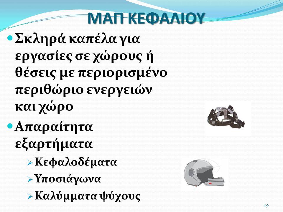 ΜΑΠ ΚΕΦΑΛΙΟΥ Σκληρά καπέλα για εργασίες σε χώρους ή θέσεις με περιορισμένο περιθώριο ενεργειών και χώρο Απαραίτητα εξαρτήματα  Κεφαλοδέματα  Υποσιάγ