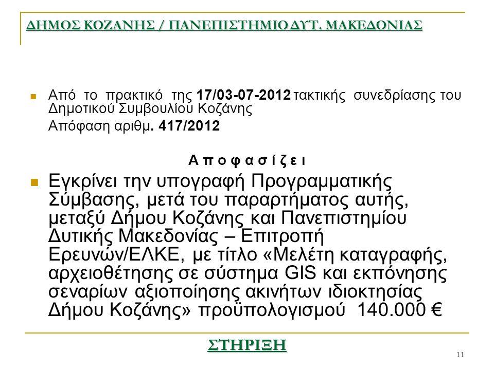 11 Από το πρακτικό της 17/03-07-2012 τακτικής συνεδρίασης του Δημοτικού Συμβουλίου Κοζάνης Απόφαση αριθμ.