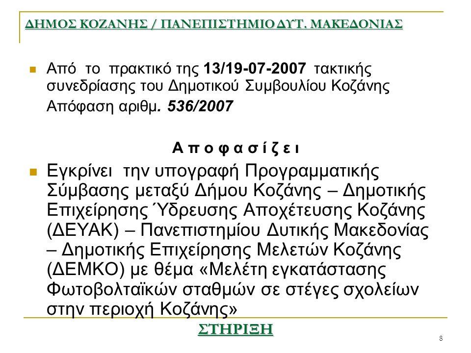 8 Από το πρακτικό της 13/19-07-2007 τακτικής συνεδρίασης του Δημοτικού Συμβουλίου Κοζάνης Απόφαση αριθμ.