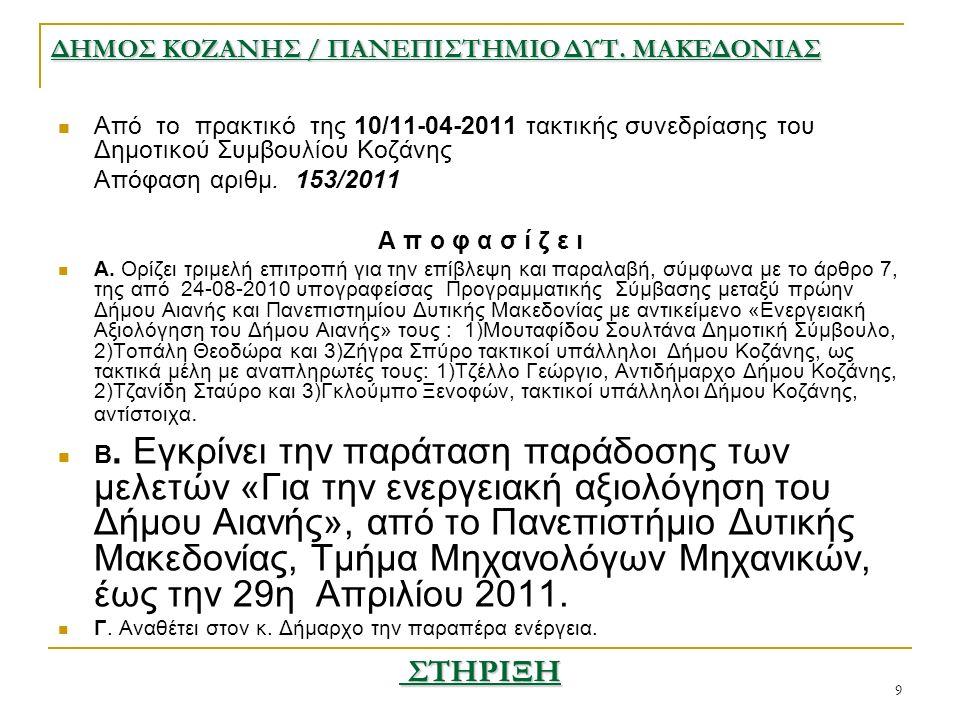9 Από το πρακτικό της 10/11-04-2011 τακτικής συνεδρίασης του Δημοτικού Συμβουλίου Κοζάνης Απόφαση αριθμ.