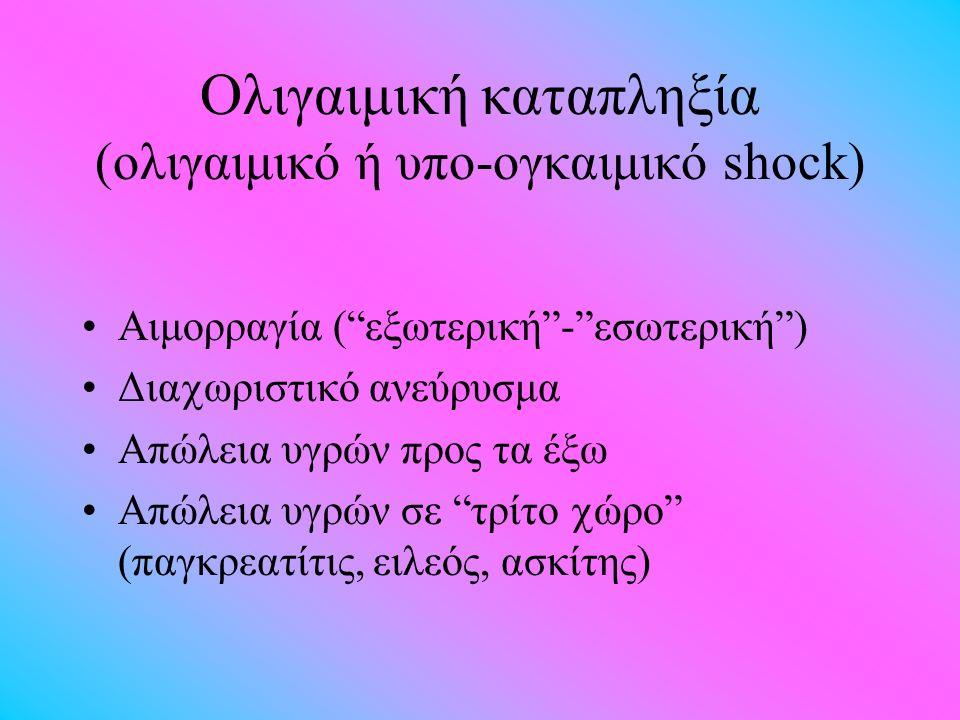 Oλιγαιμική καταπληξία (ολιγαιμικό ή υπο-ογκαιμικό shock) Αιμορραγία ( εξωτερική - εσωτερική ) Δια  ωριστικό ανεύρυσμα Απώλεια υγρών προς τα έξω Απώλεια υγρών σε τρίτο  ώρο (παγκρεατίτις, ειλεός, ασκίτης)