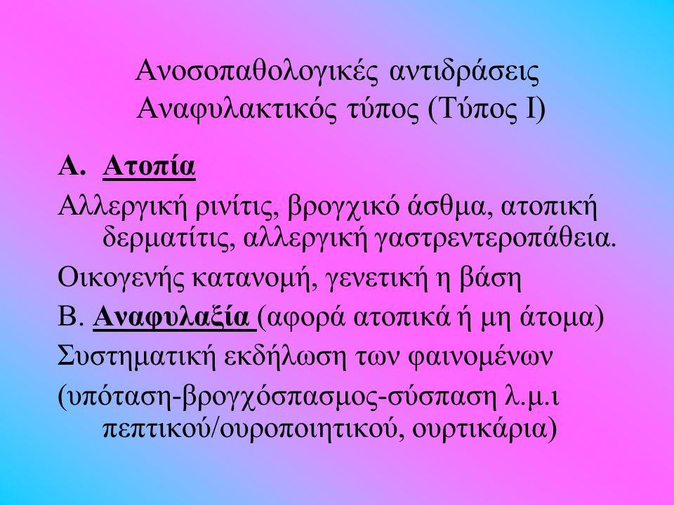 Ανοσοπαθολογικές αντιδράσεις Αναφυλακτικός τύπος (Τύπος Ι) A.Aτοπία Αλλεργική ρινίτις, βρογ  ικό άσθμα, ατοπική δερματίτις, αλλεργική γαστρεντεροπάθε