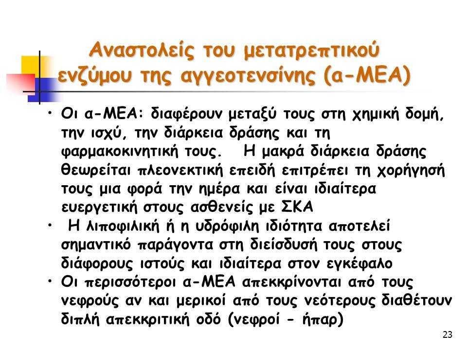 23 Αναστολείς του μετατρεπτικού ενζύμου της αγγεοτενσίνης (a-ΜΕA) Οι α-ΜΕΑ: διαφέρουν μεταξύ τους στη χημική δομή, την ισχύ, την διάρκεια δράσης και τ