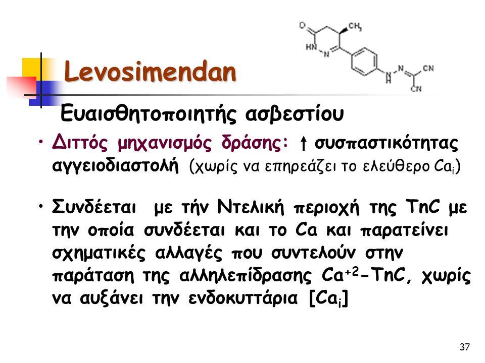 37 Levosimendan Ευαισθητοποιητής ασβεστίου Διττός μηχανισμός δράσης: συσπαστικότητας αγγειοδιαστολή (χωρίς να επηρεάζει το ελεύθερο Ca i ) Συνδέεται μ