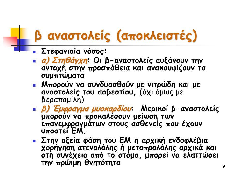 9 Στεφανιαία νόσος: α) Στηθάγχη α) Στηθάγχη: Οι β-αναστολείς αυξάνουν την αντοχή στην προσπάθεια και ανακουφίζουν τα συμπτώματα Μπορούν να συνδυασθούν