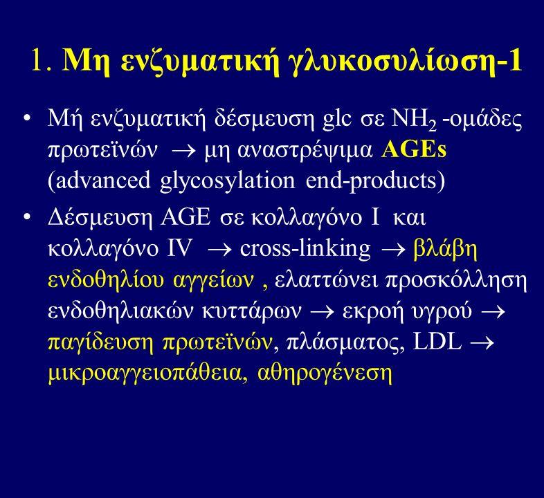 1. Μη ενζυματική γλυκοσυλίωση-1 Μή ενζυματική δέσμευση glc σε ΝΗ 2 -ομάδες πρωτεϊνών  μη αναστρέψιμα AGEs (advanced glycosylation end-products) Δέσμε