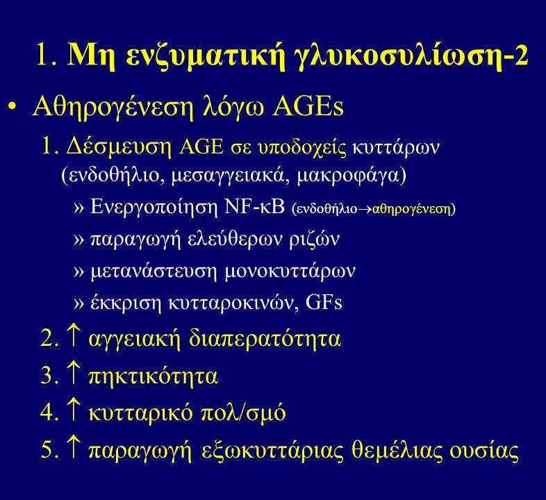 1. Μη ενζυματική γλυκοσυλίωση- 2 Αθηρογένεση λόγω ΑGEs 1.